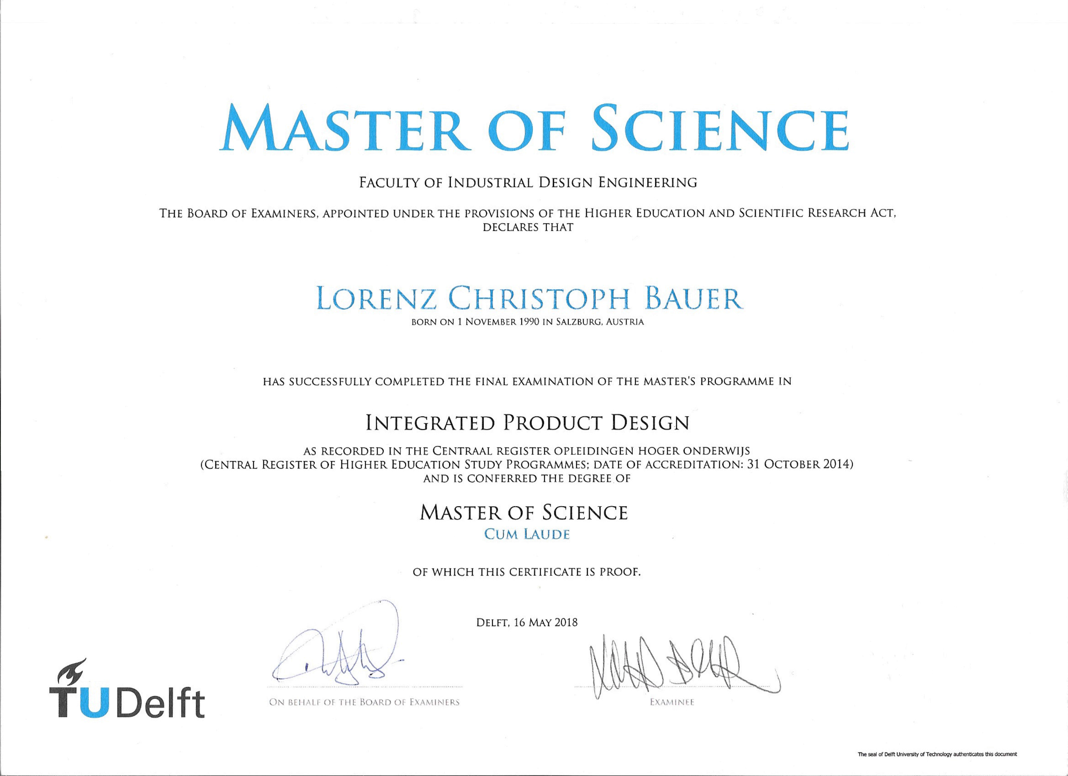 Lorenz MSc Certificate